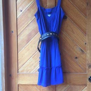 Rich Blue Flowy Silk Dress